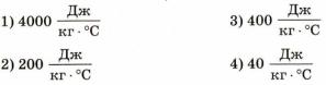 Тест по физике Удельная теплоемкость 9 задание