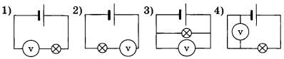 Для измерения напряжения на лампе вольтметр следует подключить